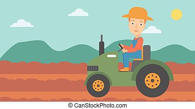 Farmer driving tractor. - A woman driving a tractor on the...