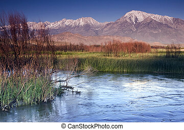 Owens River at Chalk Bluff - The Owens River carves a...