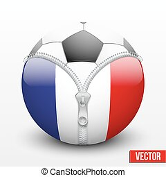 soccer ball inside France symbol - Soccer ball inside France...