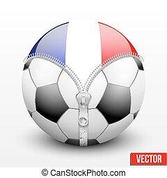 France symbol inside football ball. Vector sport...