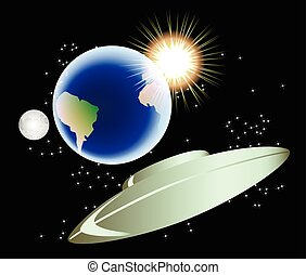 Abstract background with earth, moon and sun. EPS10 vector illustration