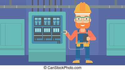 Electrician with electrical equipment - A hipster man in...