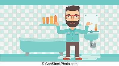 Man in despair standing near leaking sink. - A hipster man...