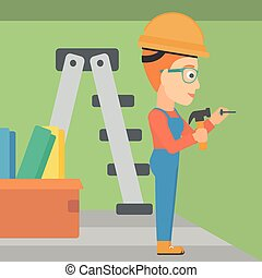 Constructor hammering nail. - A woman hitting a nail in the...