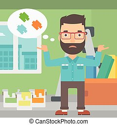 Man choosing paint color - A doubtful hipster man with the...