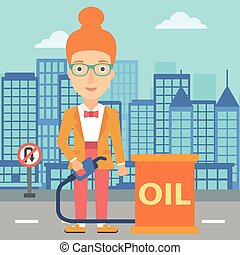 Woman with oil can and filling nozzle.