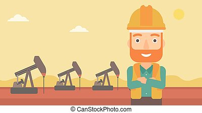 Cnfident oil worker - A hipster man in helmet standing with...