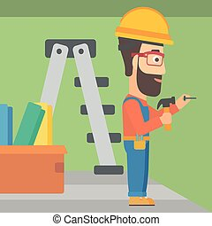 Constructor hammering nail. - A hipster man with the beard...