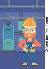 Cheerful repairer with spanner. - A hipster man with a...