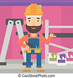 Cheerful repairer engineer. - A hipster man in helmet with a...