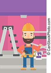 Cheerful repairer engineer - A hipster man in helmet with a...