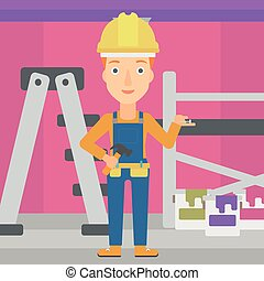 Cheerful repairer engineer. - A woman in helmet with a...
