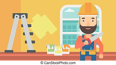 Smiling worker with saw - A hipster worker with the beard...