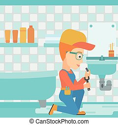 Woman repairing sink - A woman sitting in a bathroom and...