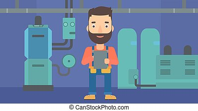 Confident builder with tablet - A hipster man with the beard...