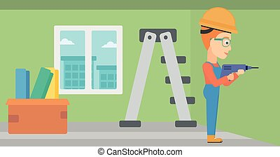 Constructor with perforator. - A constructor drilling a hole...