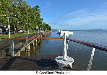 Street binoculars on Cairns Esplanade in Queensland...