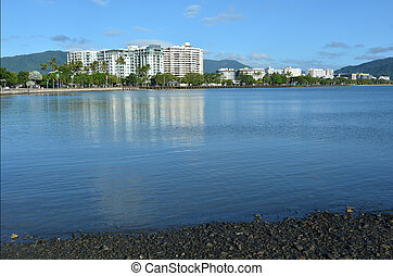 Landscape view of Cairns waterfront skyline in Queensland...