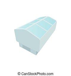 Freezer showcase icon, cartoon style - Freezer showcase icon...
