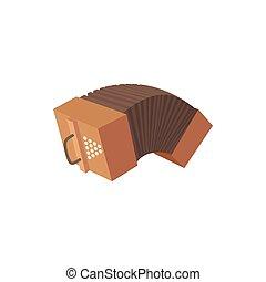 Bandoneon accordion icon, cartoon style