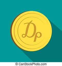 Drachma icon, flat style - Drachma icon in flat style on...