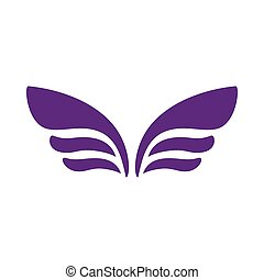 Wings for emblem design icon, simple style