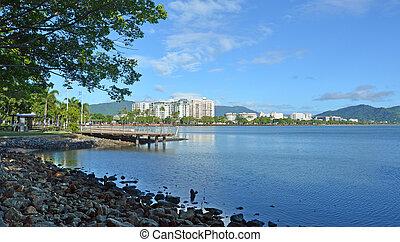 Landscape view of Cairns waterfront skyline in Queensland...