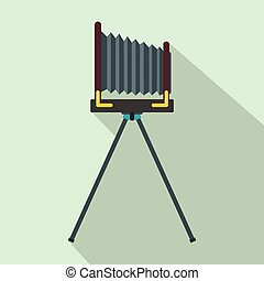 Old photo camera with tripod icon, flat style