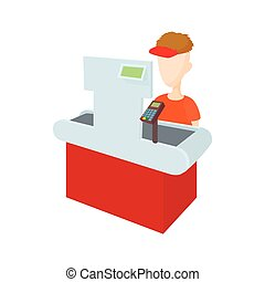 Cashier behind cash register icon, cartoon style - Cashier...