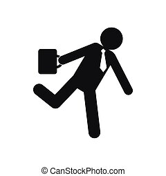 Running businessman icon, simple style