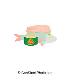 Raw fish and caviar icon, cartoon style - Raw fish and...
