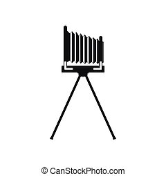 Old photo camera with tripod icon, simple style