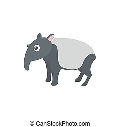 Tapir icon in cartoon style on a white background