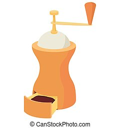 Coffee grinder icon, cartoon style