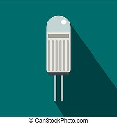 Halogen lamp icon, flat style - Halogen lamp icon in flat...