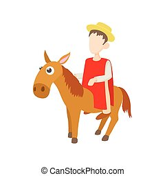 Man riding a donkey icon, cartoon style