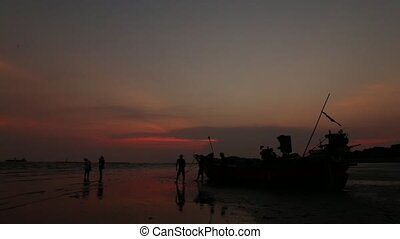 silhouette fishing boat and Sunset - Beautiful silhouette...