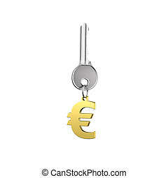 Silver key with golden euro sign shape keyring