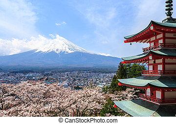 Monte., Fuji, visto, De, atrás, Chureito, pagoda, o, rojo,...
