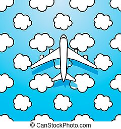 Plane on sky with clouds
