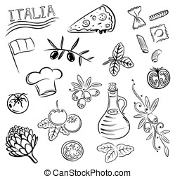 Italian food - Gastronomy and cooking vector set, Italian...