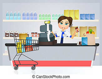 supermarket cashier - illustration of supermarket cashier