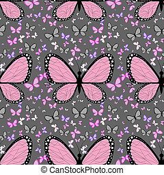 Large pink butterfly surrounded by small multicolored...