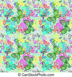 Many bright colorful butterflies. - Seamless spring with...