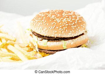 podwójny, hamburger, z, Mcdonalds,