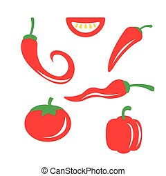Vector red chili pepper icons set on white background