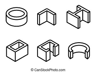Vector line metal profilies icons set Steel product and...