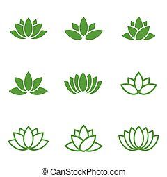 Vector green lotus icons set on white background. Lotus...