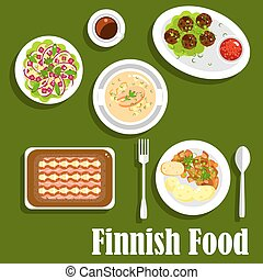 Traditional finnish cuisine flat icon - Traditional finnish...