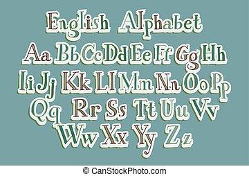 Hand cut vector alphabet sticker set in bright vintage...